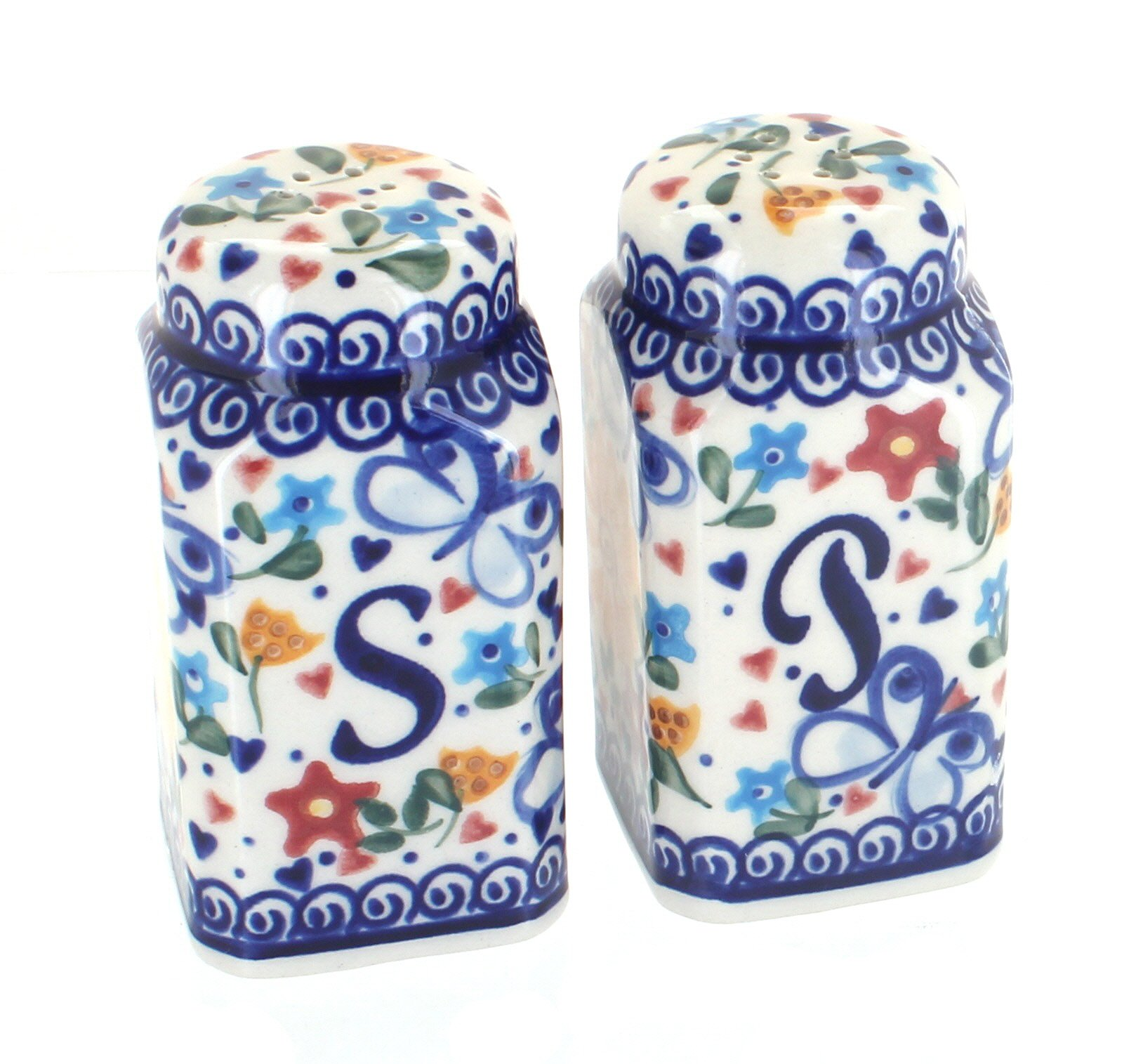 Polish Pottery Butterfly Large Salt and Pepper Shakers by Vena