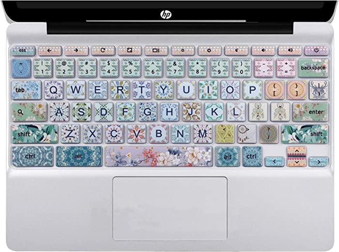 """Silicon Keyboard Cover Skin for HP Chromebook 11 x360 11.6"""", Chromebook 11 G2/G3/G4/G5/G6 EE/G7 EE 11.6'',HP Chromebook 14-ca 14-ak14-X Series/Chromebook 14 G2 G3 G4 Keyboard Skin, Bohemian Pattern"""