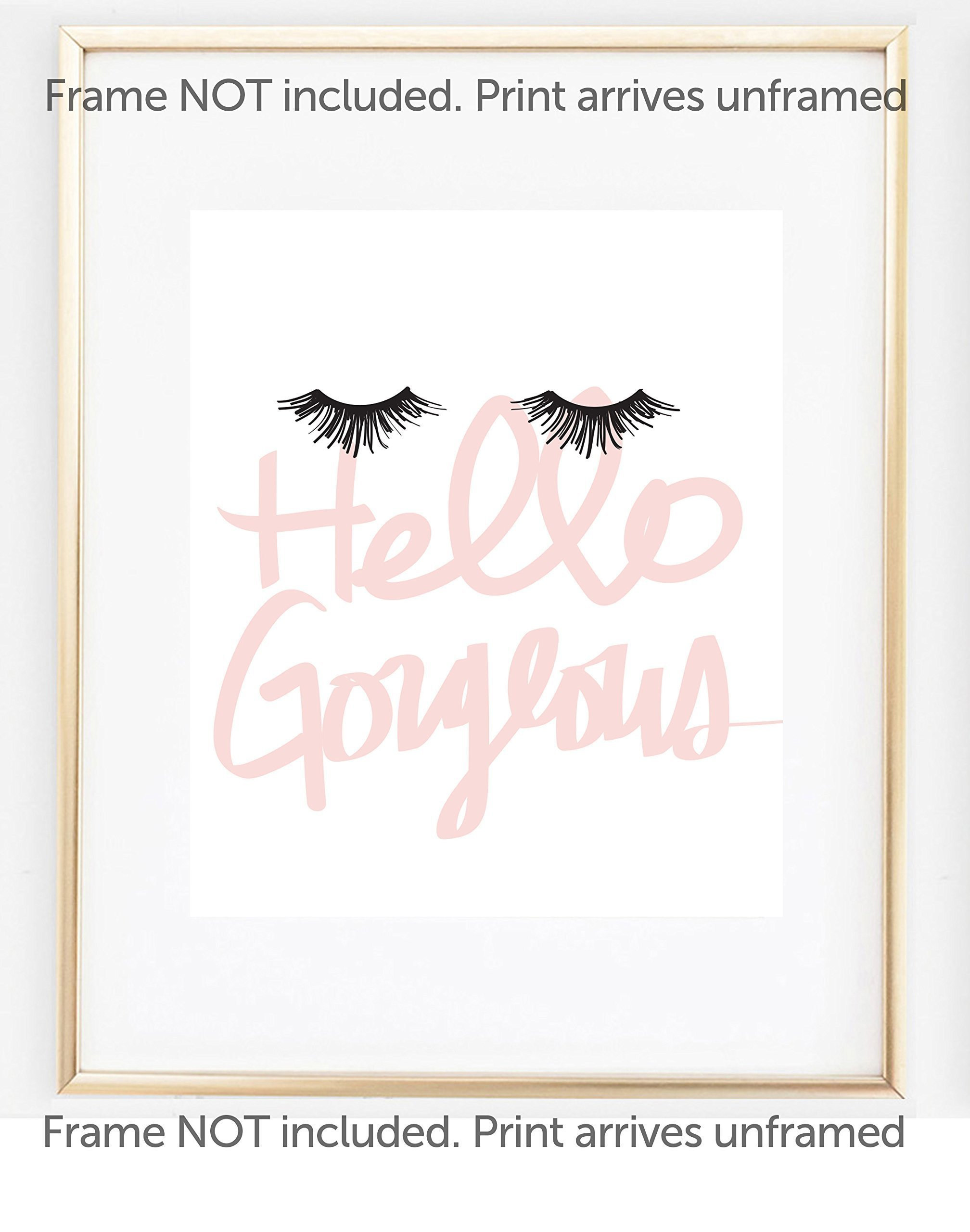 UNFRAMED Hello Gorgeous Print, Eyelash Art Makeup in Size 12''x12'', 12''x18'', 16''x20'', 18''x24'', 24x36