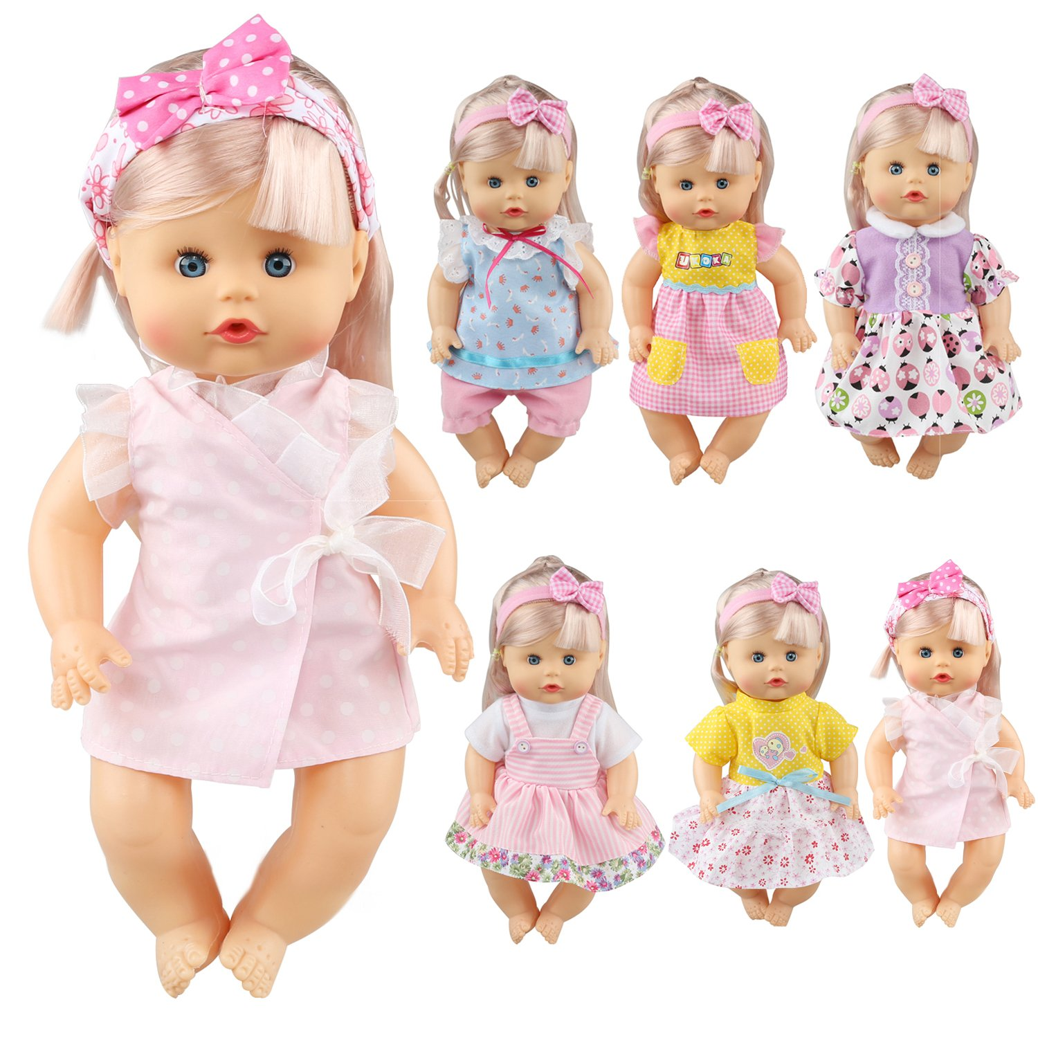 Pack of 6 Fit for 12 Inch Alive Baby Doll Dress Clothes Fashionista Gown Outfits Include Hair Band For Girls American Doll