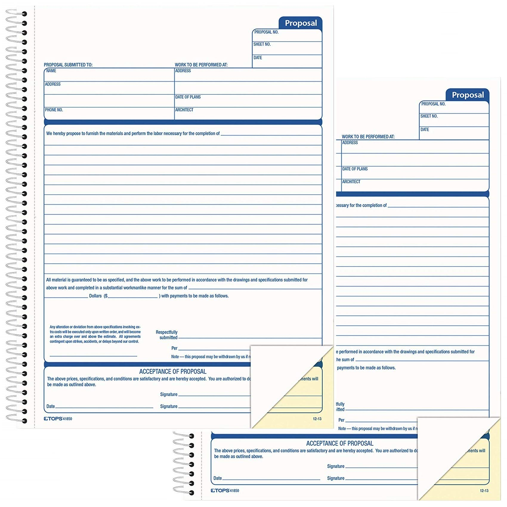 Tops 41850 Spiralbound Proposal Form Book, 8 1/2 x 11, Two-Part Carbonless, 50 Sets/Book, Pack of 2 Books