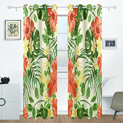 AIDEESS Tropical Hawaiian Plumeria And Hibiscus Flowers Room Darkening Thermal Insulated Grommet Blackout Window Curtains For Living Room Curtain Panels Pair Black 55×84-Inch