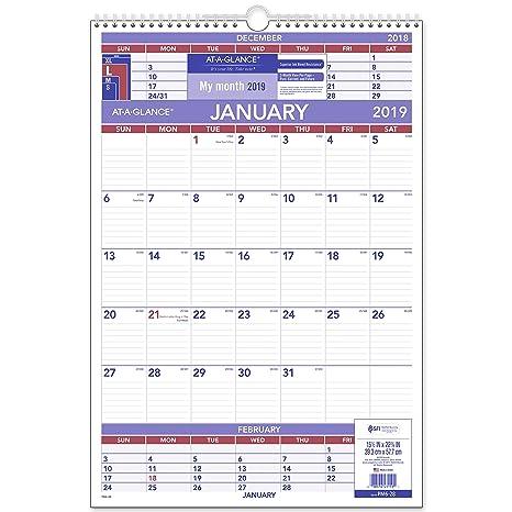 Calendario Mese Dicembre 2019.At A Glance 3 Mese Calendario Da Parete Gennaio 2019
