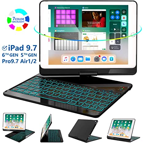 iPad Keyboard Case 9.7 for iPad 2018 (6th Gen) - 2017(5th Gen) - iPad Pro 9.7 - Air 2 & 1, 360 Rotate 7 Color Backlit Wireless/BT iPad Case with ...