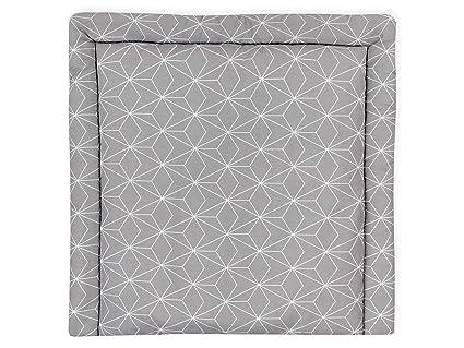 KraftKids Wickelauflage in weiße dünne Diamante auf Grau, Wickelunterlage 78x78 cm (BxT), Wickelkissen