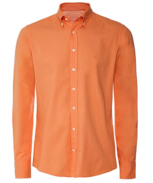 5b59cdd3930 Hackett Men's Cotton Garment Dyed Shirt Orange: Amazon.co.uk: Clothing