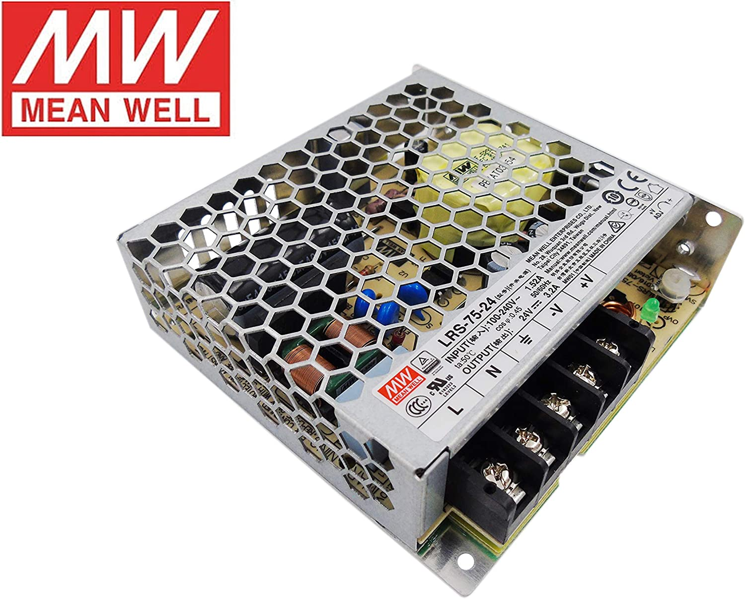 MeanWell Fuente de alimentacion 75W 24V 3.2A Enclosed LRS-75-24 Power Supply AC/DC