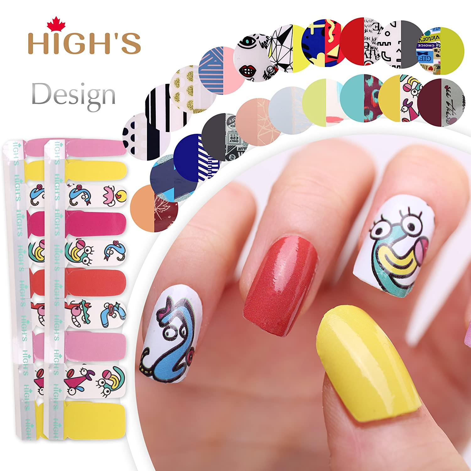 HIGH'S Exclusive Design Series Manicure Nail Polish Strips Nail Wraps, Black Friday HIGH' S
