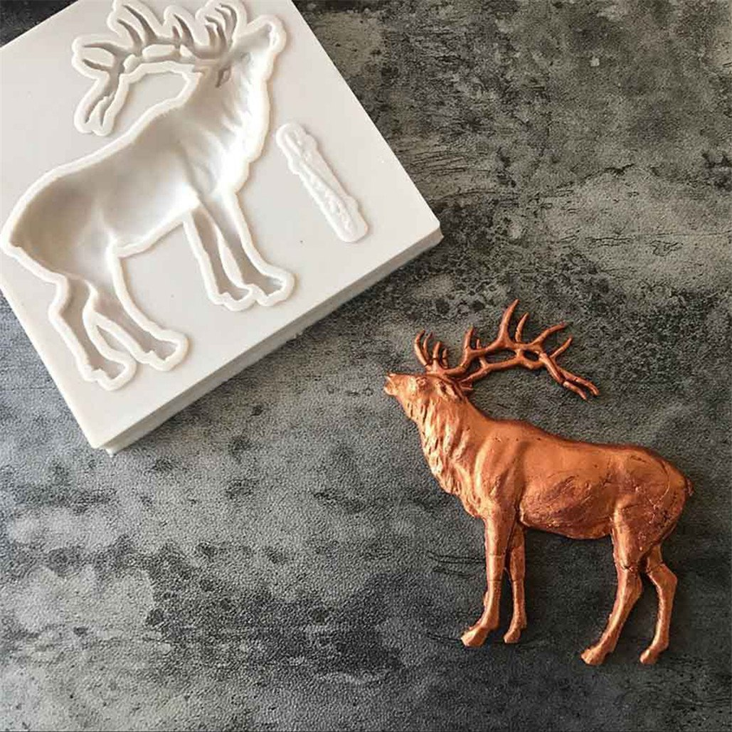 display08 Christmas Reindeer Cake Silicone Molds Fondant Kitchen Baking Moulds