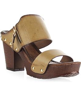 1fa3bb33463 ROF Women s Studded Double Strap Zipper Decor Chunky Platform Clog Heel  Sandals