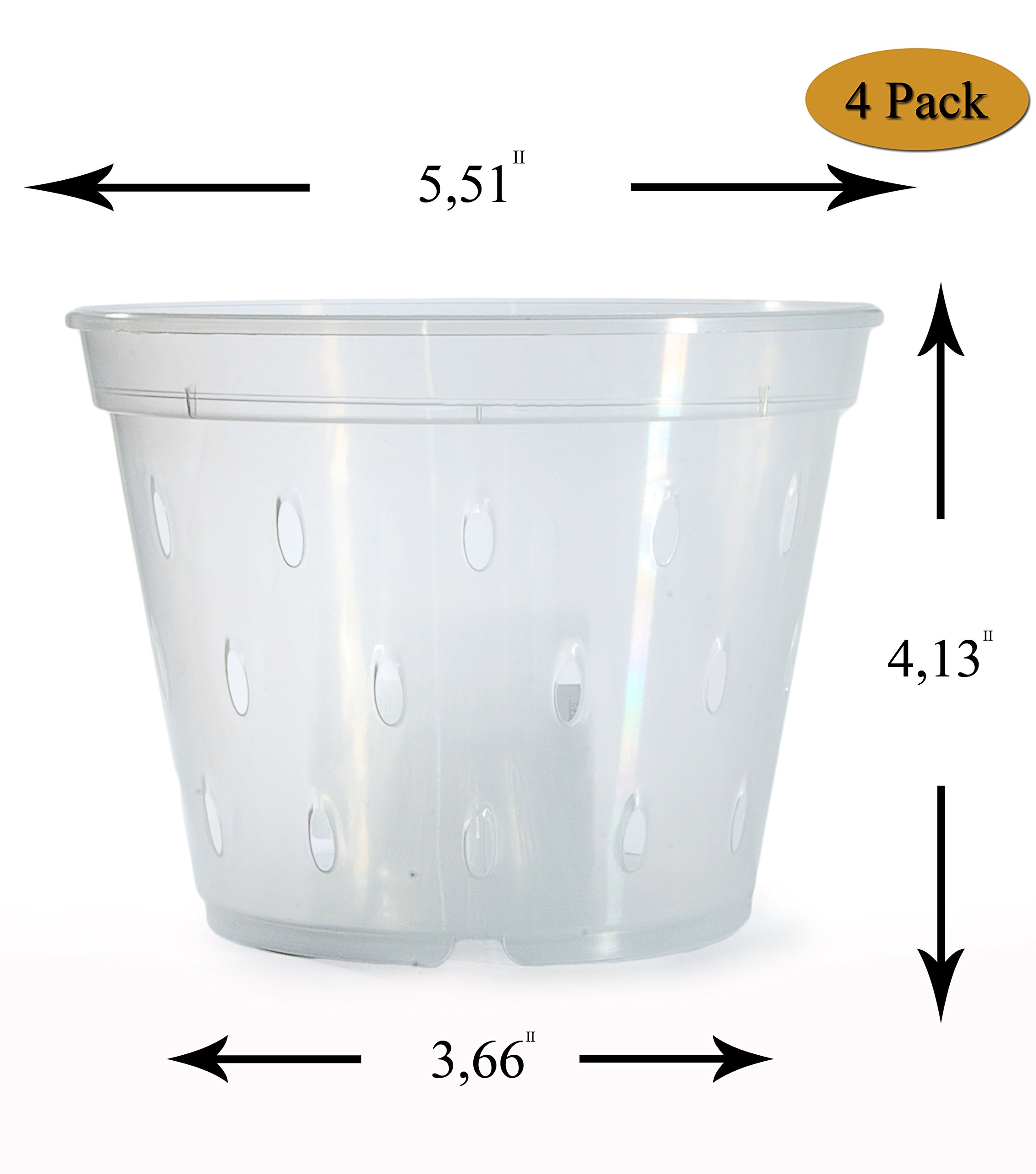 DAN Market 5.5 inch Orchid Breathable Slotted Clear Plastic Pot - 4 Pack