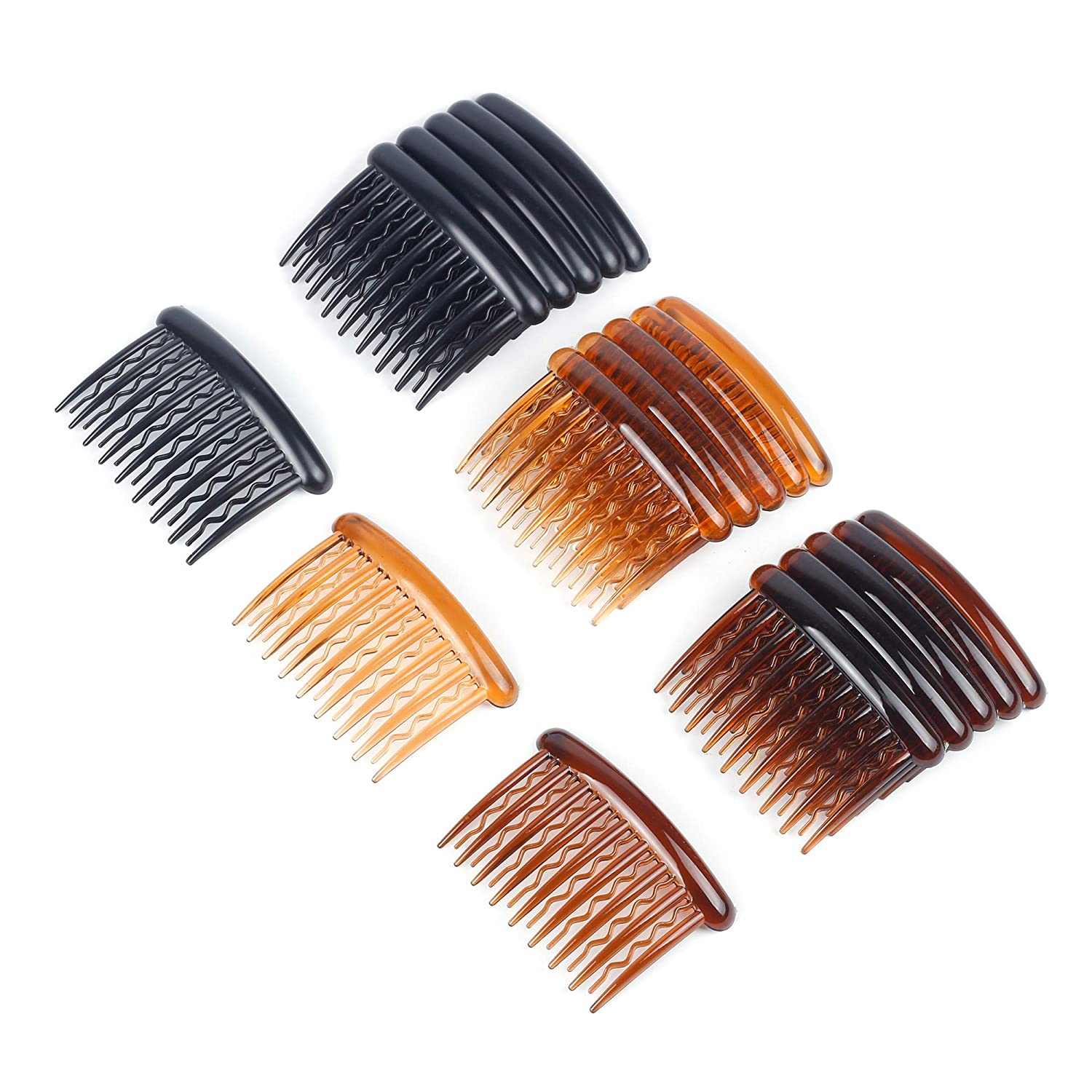 WBCBEC 18 Pieces Plastic Teeth Hair Combs Tortoise Side Comb Hair Accessories for Fine Hair : Beauty