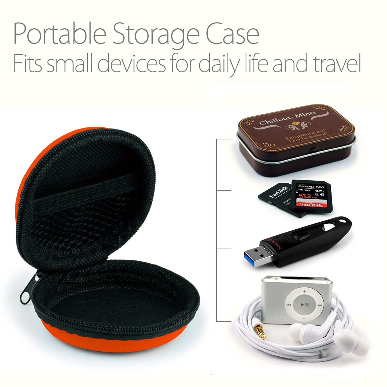 MyGadget Mini Funda Protectora para Auriculares Flash Drive USB etc In Ear SD Card Naranja - Caja Estuche de Transporte para iPod Shuffle Airpods