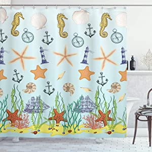 Ambesonne Nautical Shower Curtain, Elements of The Ocean Composition with Seastars Seahorses and Hand Drawn Ships, Cloth Fabric Bathroom Decor Set with Hooks, 70