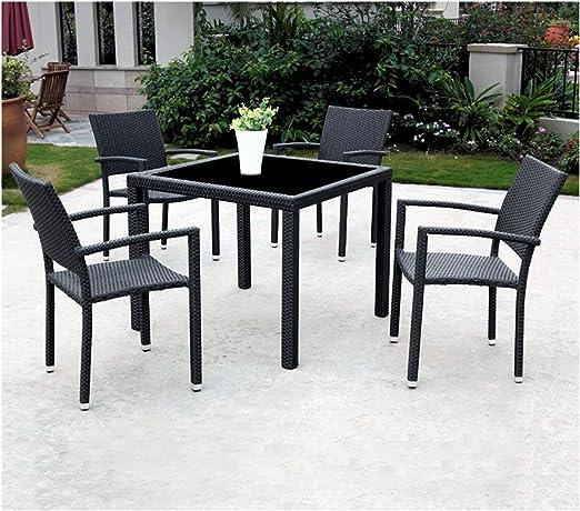 Conjunto de jardín en Resina con 4 sillas y Mesa Cuadrada: Amazon.es: Jardín