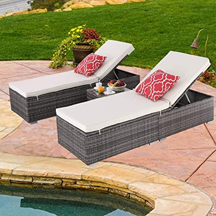 Do4U 3 Pcs Outdoor Patio Synthetic Adjustable Rattan Wicker Furniture Pool Chaise Lounge Chair Set with Table (7003-GY)