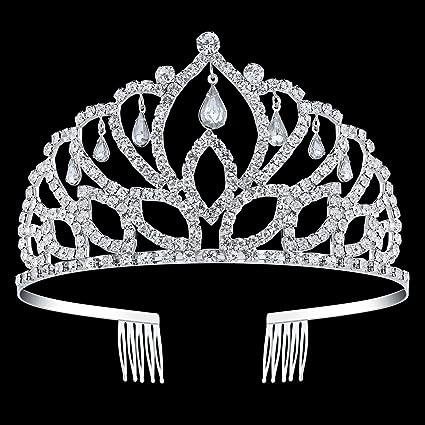 Amazon.com: BABEYOND - Tiara de cristal con corona de reina ...