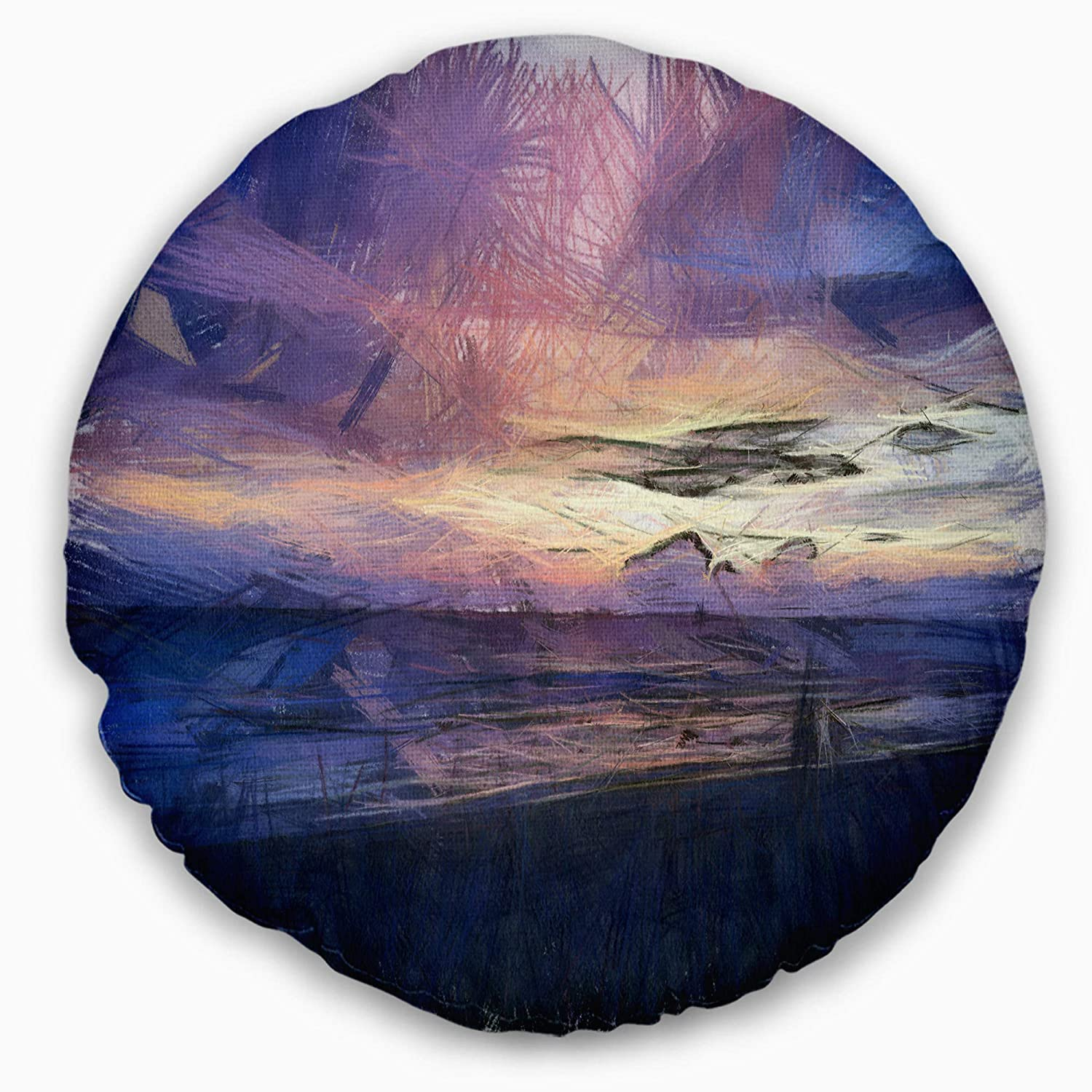 Sofa Throw Pillow 20 Designart CU13578-20-20-C Sunset Over Blue Sea Watercolor Landscape Printed Round Cushion Cover for Living Room