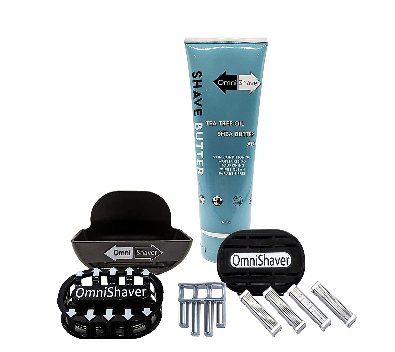 Premium Omnishaver Kit - Fastest Way to Shave Head, Legs, Arms, Body | An alternative to Disposable Shaving Razors Self Cleans & Strops During Use with Shave Butter & Replacement Cartridge Color Black