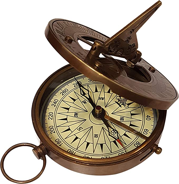 Vintage Shiny Brass Directional Working Round Marine Sundial Magnetic Compass