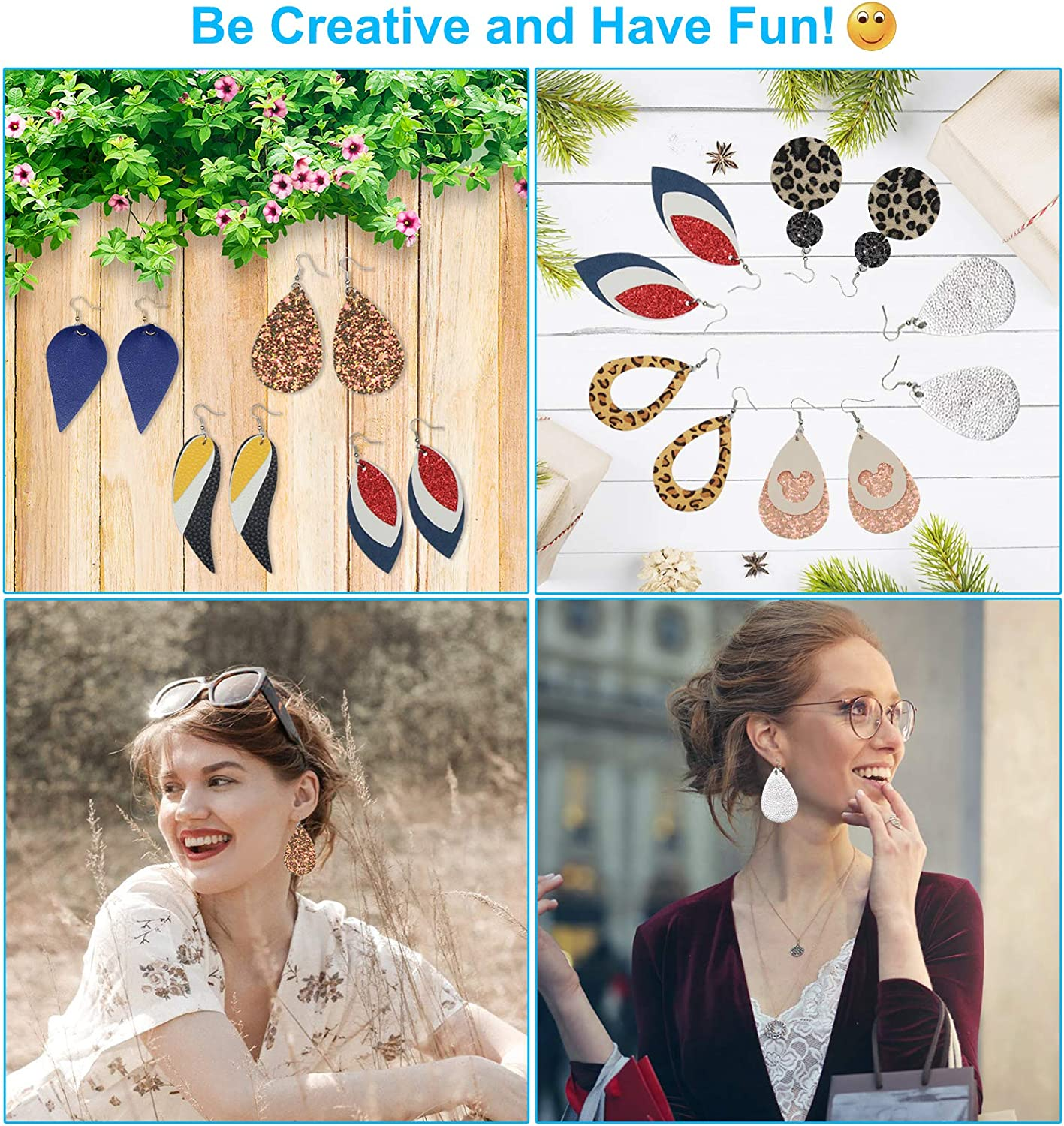 Leather Earring Making Kit Jewelry Hair Bows Crafts Supplies for Beginners 24pcs Faux Leather Sheets 8.3 x 6.3 Each Fabric and Tool for DIY Earrings with Instructions and Templates