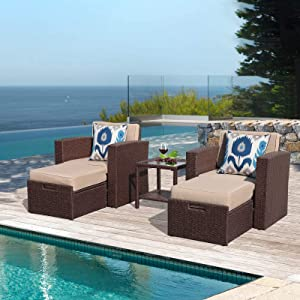 Super Patio 5 Piece Wicker Patio Furniture Set Outdoor Patio Lounge Chairs with Ottomans, Cushion, Tempered Glass Side Table, for Balcony Porch, Espresso Brown