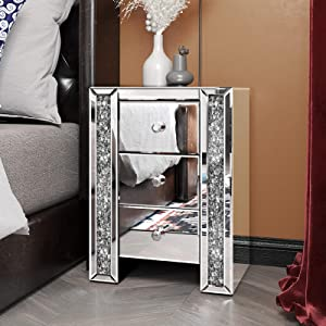 Mirrored Nightstands with 3 Drawers, Sparkly Crystal Modern Beside Table End Table for Bedroom, Living Room, Office