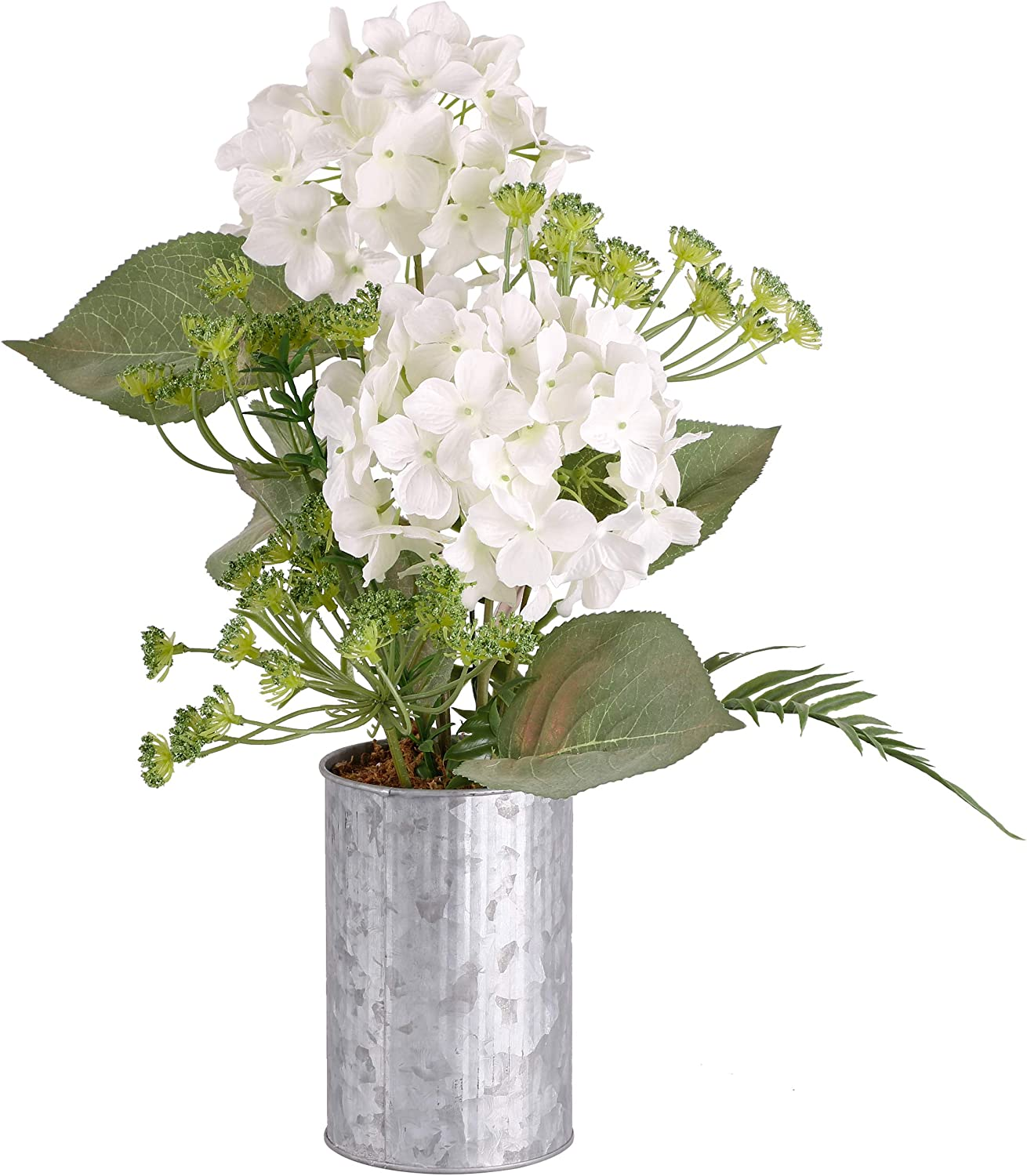 TERESA'S COLLECTIONS Artificial Hydrangea Flower Potted Faux Bouquets, Hydrangea Fake Flower Arrangements with Metal Planter for Living Room, Wedding, Home, Office and Table Centerpieces Decorations