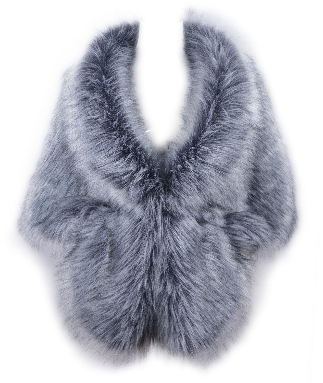RoRoDox Warm Faux Fur Wedding Shawl Perfect for Wedding/party/show (Silver Fox Medium Size)