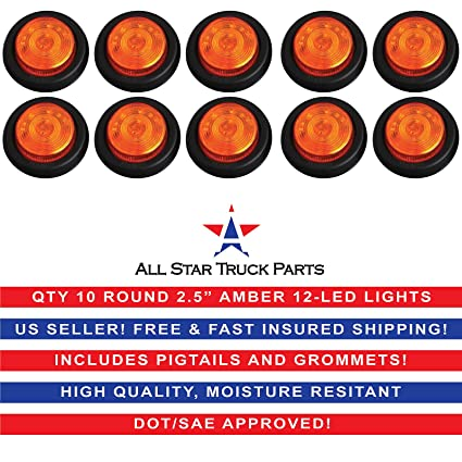 """Pigtail Kit QTY 6-2.5/"""" Round Side Marker Clearance Light 12 LED Red Grommet"""