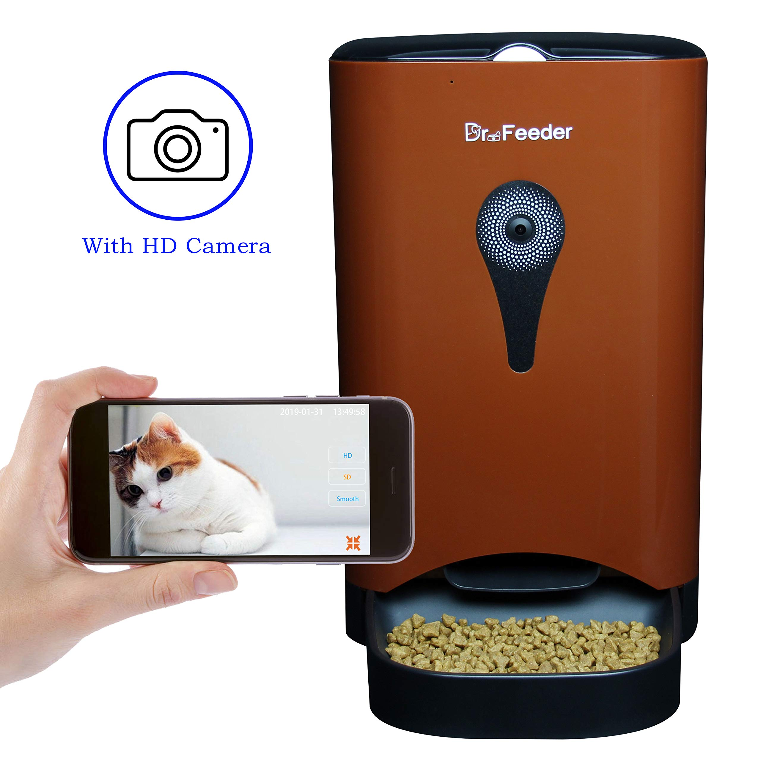 4.5L Smart Feeder, Automatic Pet Feeder for Cats and Dogs, HD Camera for Video and Audio Communication, APP Controlled Food Dispenser Through Wi-Fi, Coffee