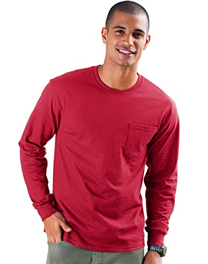 74512d59b09e Image Unavailable. Image not available for. Color: Hanes 5596 Hanes Men's  TAGLESS Long-Sleeve T-Shirt with Pocket
