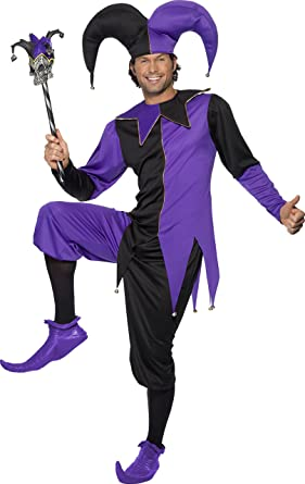 smiffys mens medieval jester costume top with attached neck piece pants and hat