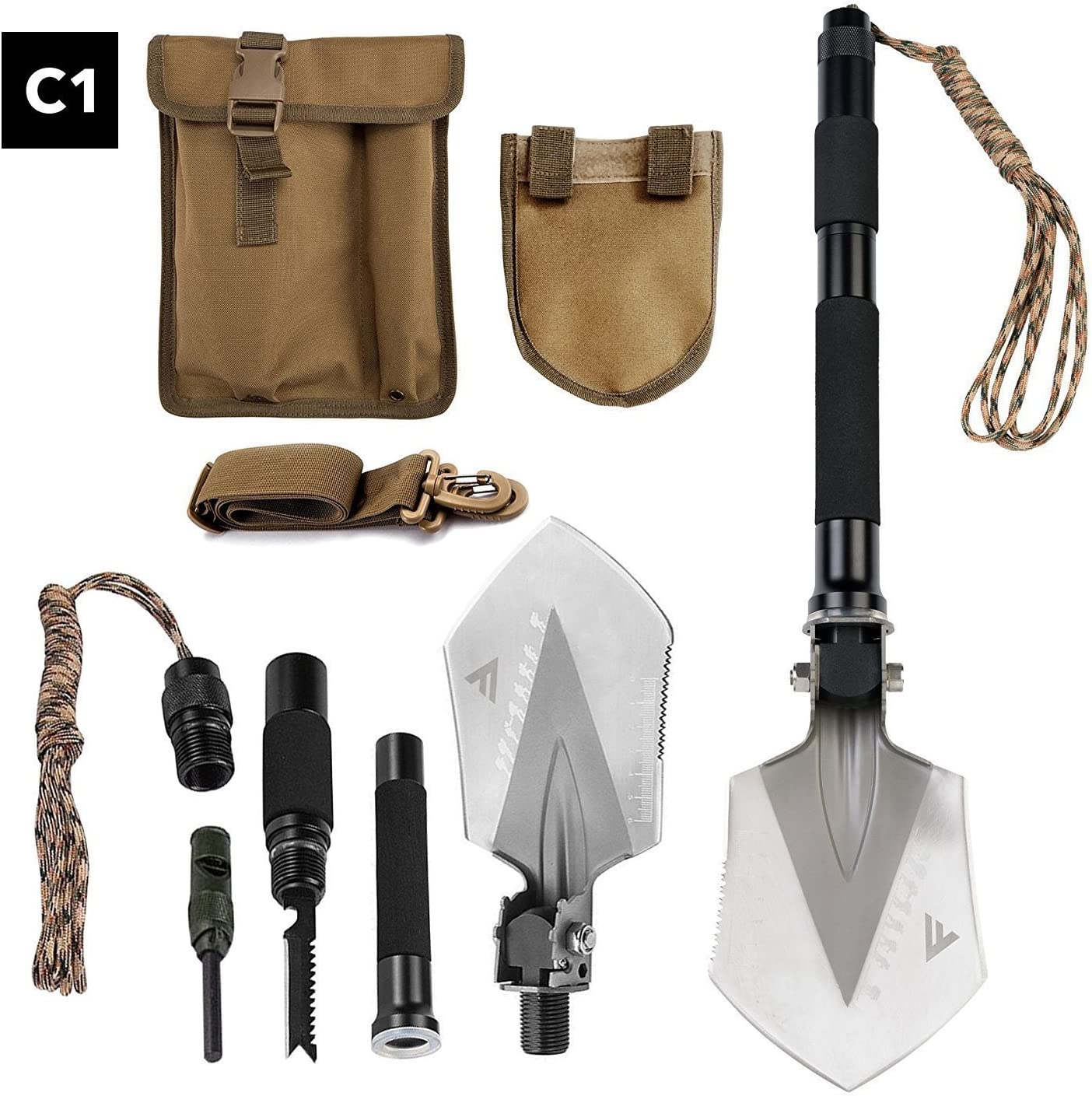 FiveJoy Military Folding Shovel Multitool C1 – Portable Foldable Survival Tool – Entrenching Backpack Equipment for Hiking Camping Emergency Car – Bushcraft Gear Shovels and Accessories Tools Kit