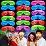 iGeeKid 30 Pack LED Glasses,Mardi Gras Party Glasses Glow in The Dark Light Up Glasses Party Supplies Rave Neon Shutter Shade