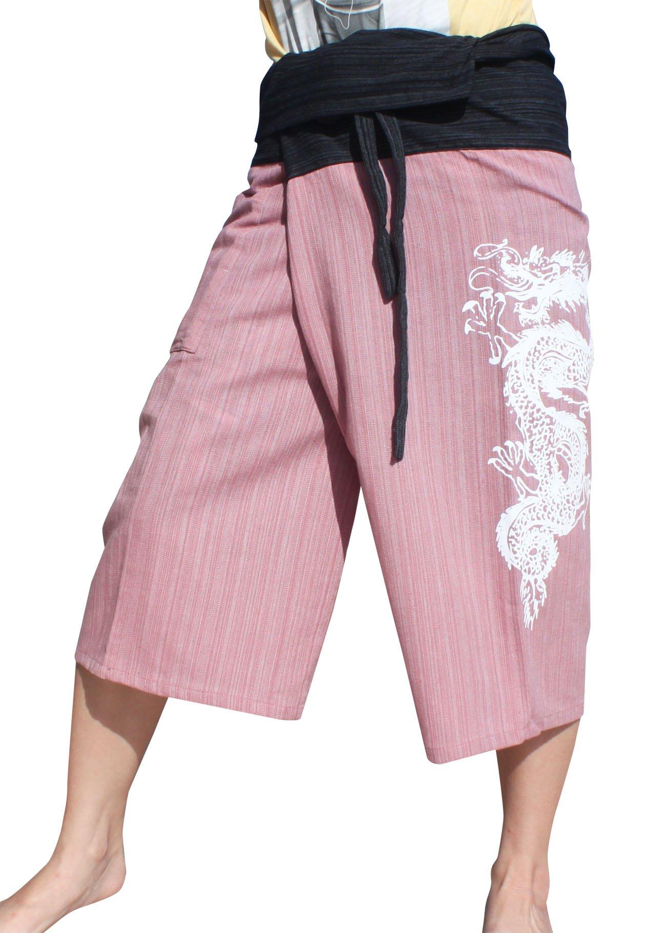 RaanPahMuang Cotton Fisherman Pants Two Tone Dragon Tattoo Print Plus Size, XX-Large, Black / Puce Pink by Raan Pah Muang