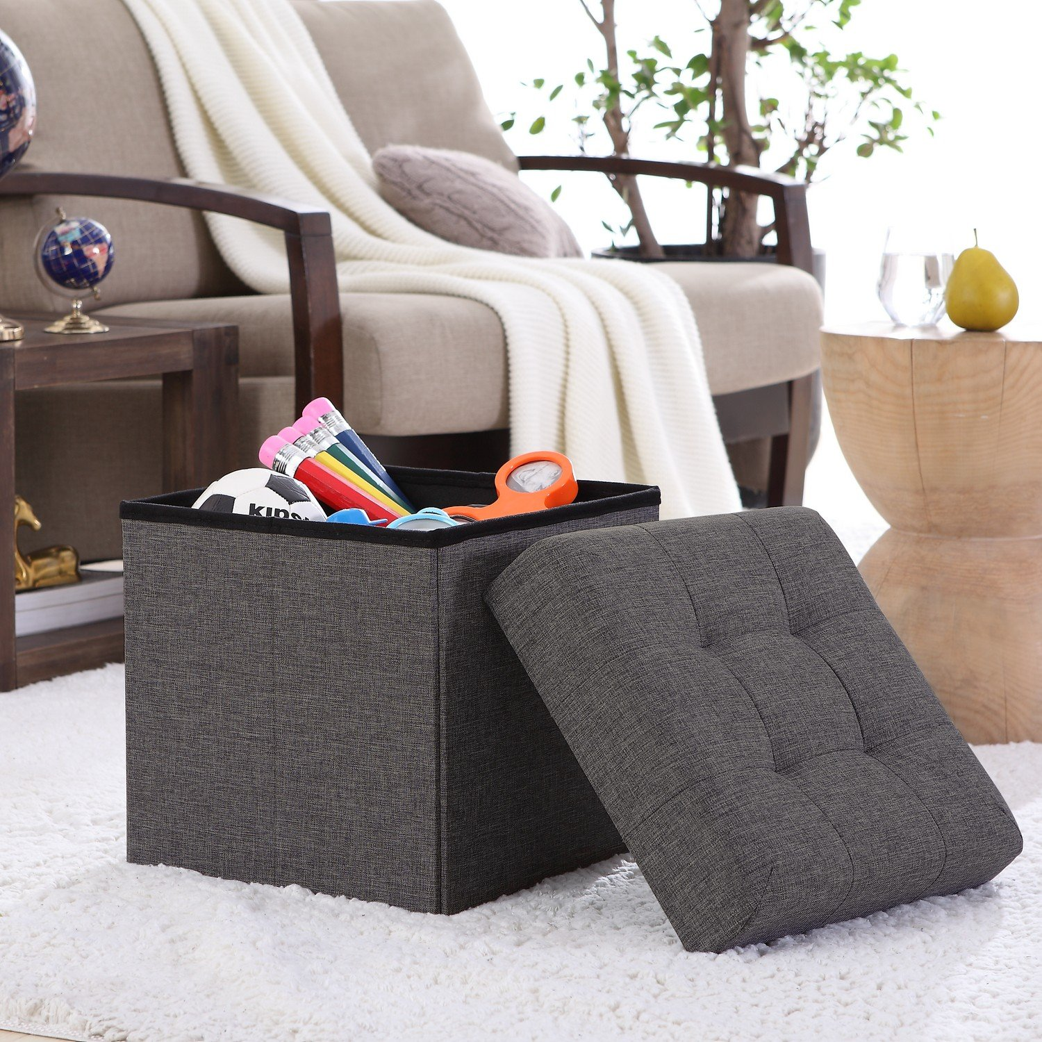 Ellington Home Foldable Tufted Linen Storage Ottoman Cube Foot Rest Stool/Seat Charcoal