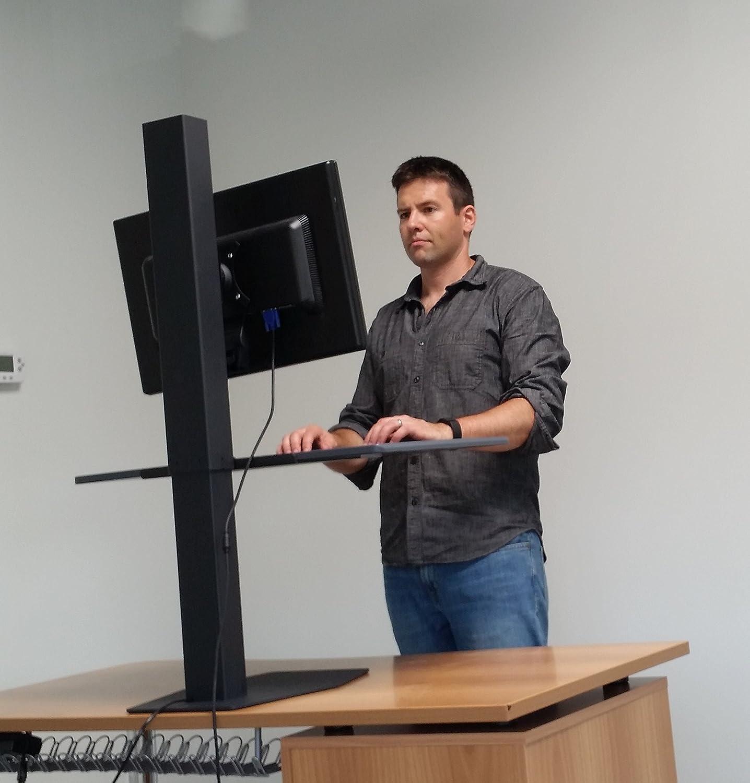 Standing Desk Extension Amazoncom Anthrodesk Ergoconvert Electric Standing Desk