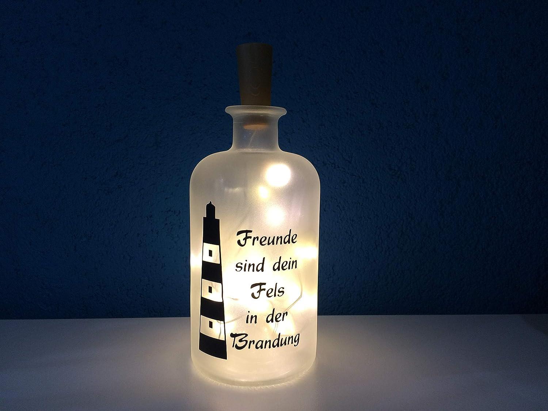 Flaschenlicht individuell LED Lichterkette Freunde sind der Fels in der Brandung Maritim Geschenk Leuchtturm