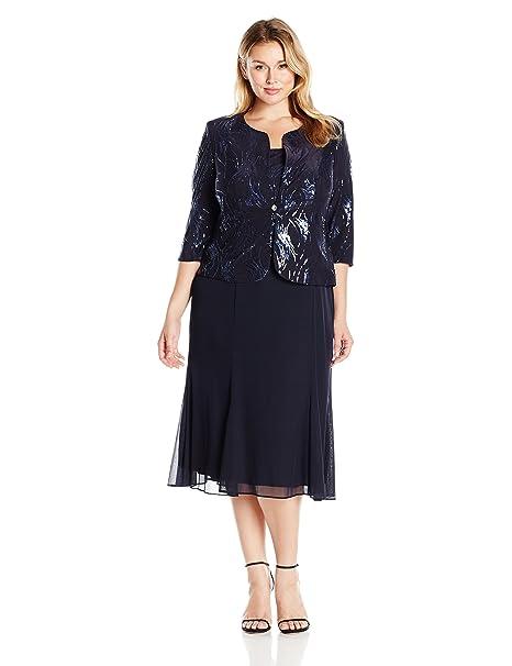 0fcc5310217 Alex Evenings Women s Plus-Size Sequin Mock Jacket with T-Length ...