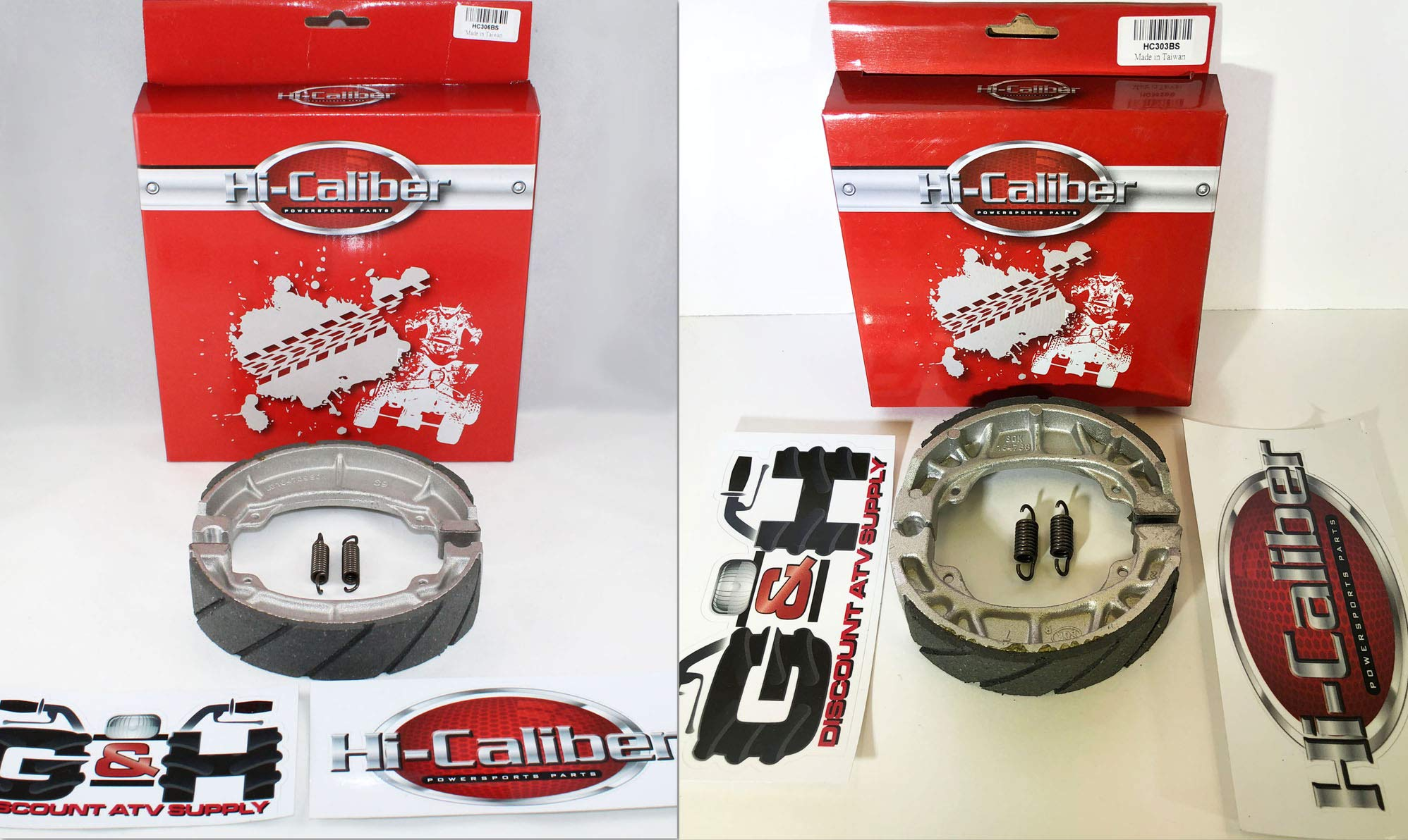 FRONT & REAR SET OF WATER GROOVED BRAKE SHOES + SPRINGS For the Honda ATC 200 200M 200E 200ES BIG RED by Hi-Caliber Powersports Parts
