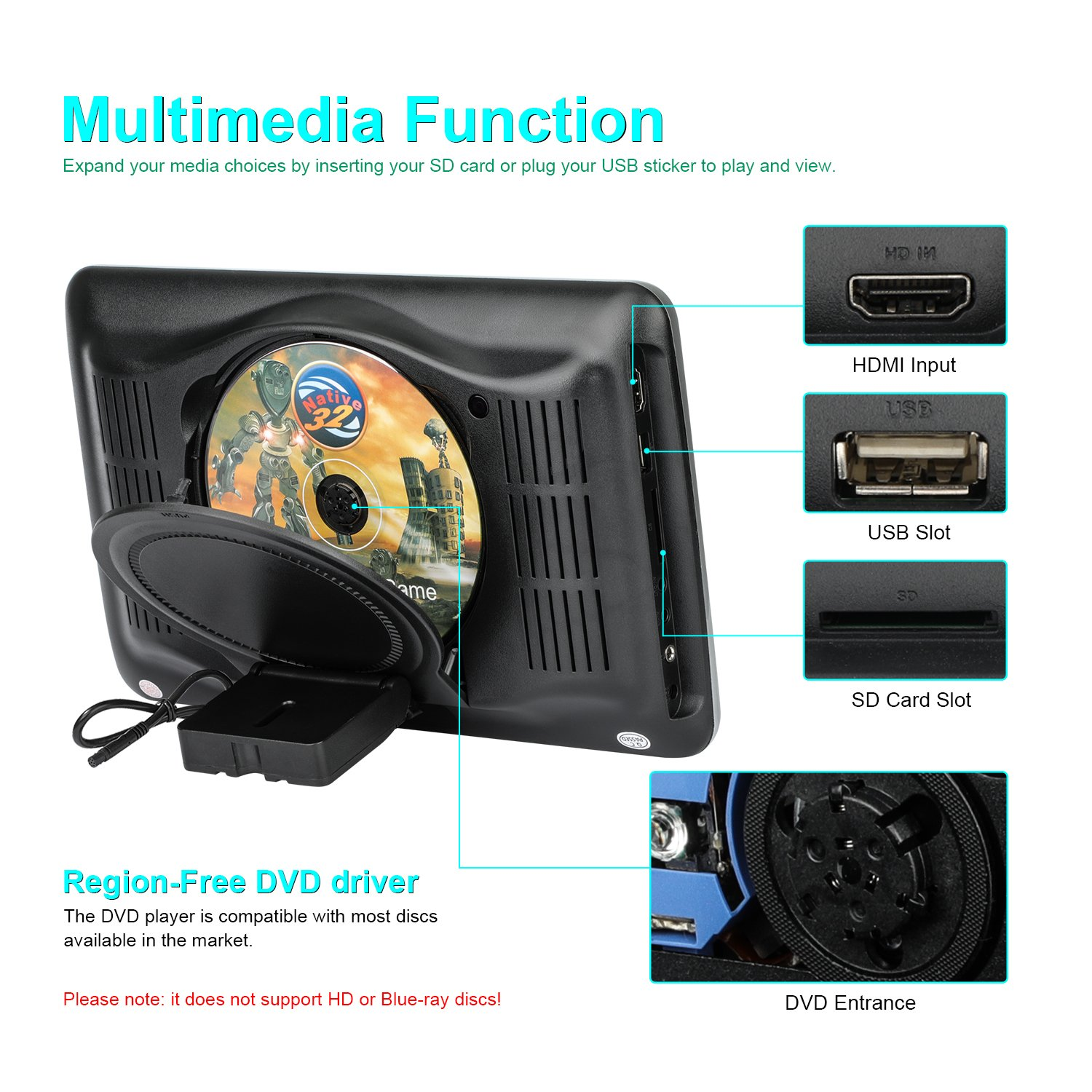 Headrest DVD Player 10.1 Inch Widescreen Ultra-thin HD Car DVD Player for Kids Entertainment with Remote Control HDMI USB SD Card Slot (CL1018D) by CarThree (Image #5)