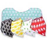 4-Pack Baby Bandana Drool Bibs (Unisex) & FREE Organic Cotton Contoured Burp Cloth ~ Best Gift For Toddlers ~ Super soft and Absorbent with Fleece Back ~ Nickel-free snaps ~ Perfect for infants