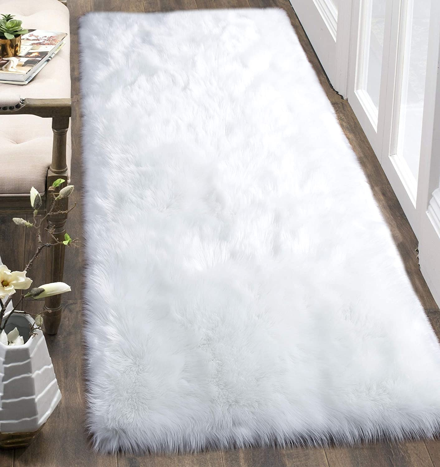 YJ.GWL Luxury White Fluffy Faux Fur Area Rug (3'x6') for Bedroom Living Room Plush Carpet, Machine Washable, Rectangle