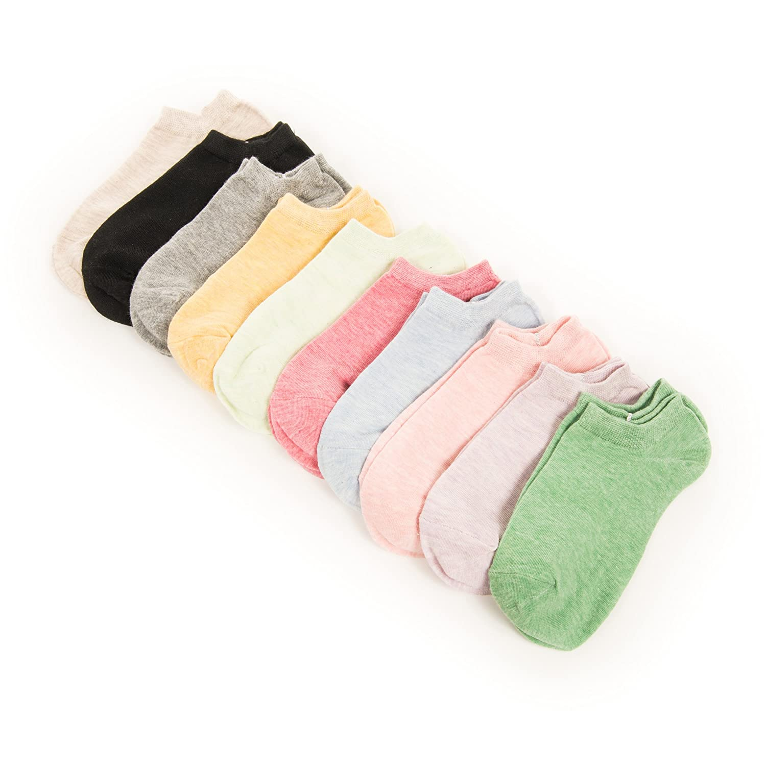 Fab-ganics Organic 100 Cotton Women's Ankle Socks 10 Pack size 5-8