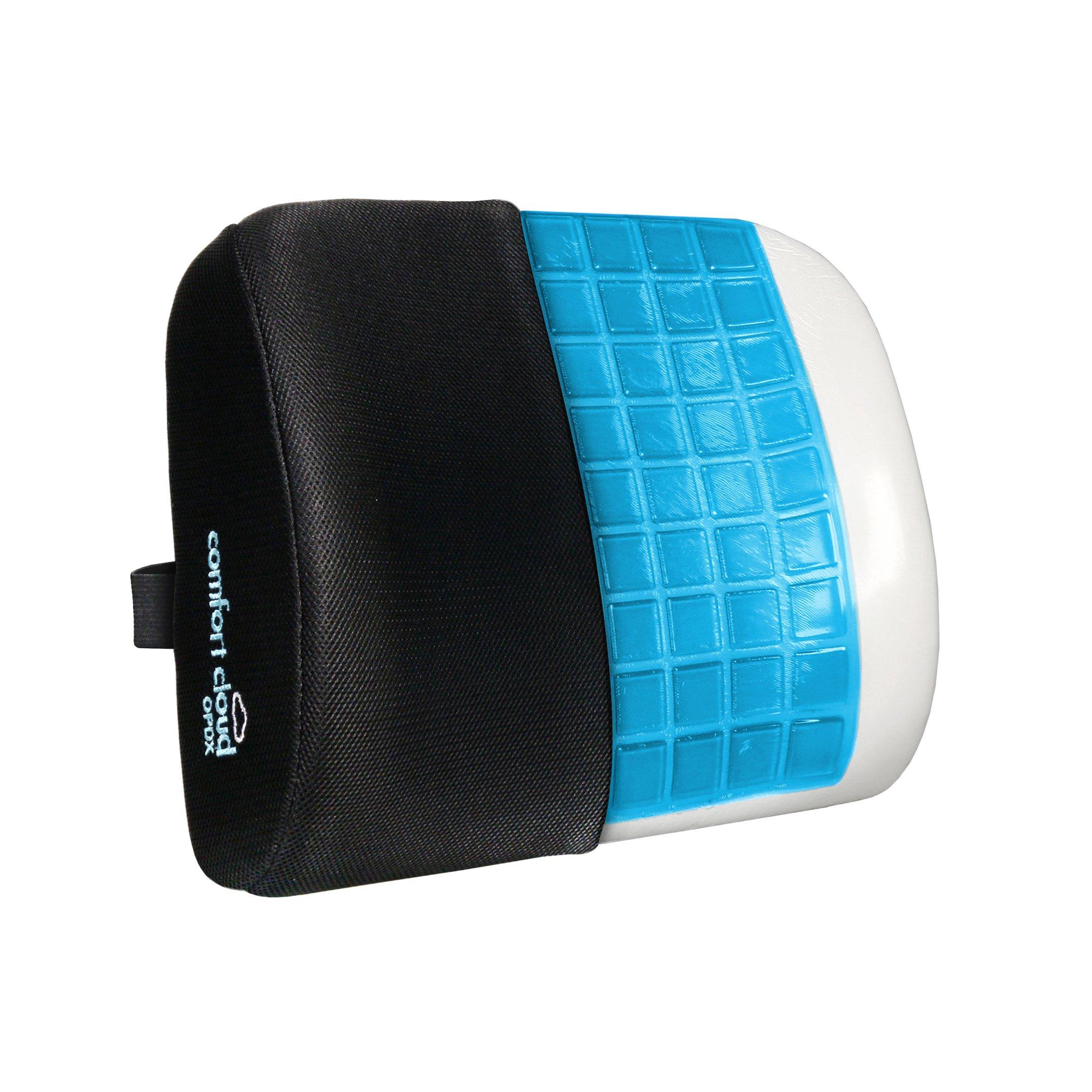 Comfort Cloud Lumbar Support Pillow- Premium Hybrid Cooling Gel and Memory Foam Lumbar Cushion, Breathable Mesh, Non-Slip Orthopedic Lumbar Pillow. Lower Back Pain Cushion, Office, Travel, Wheelchair