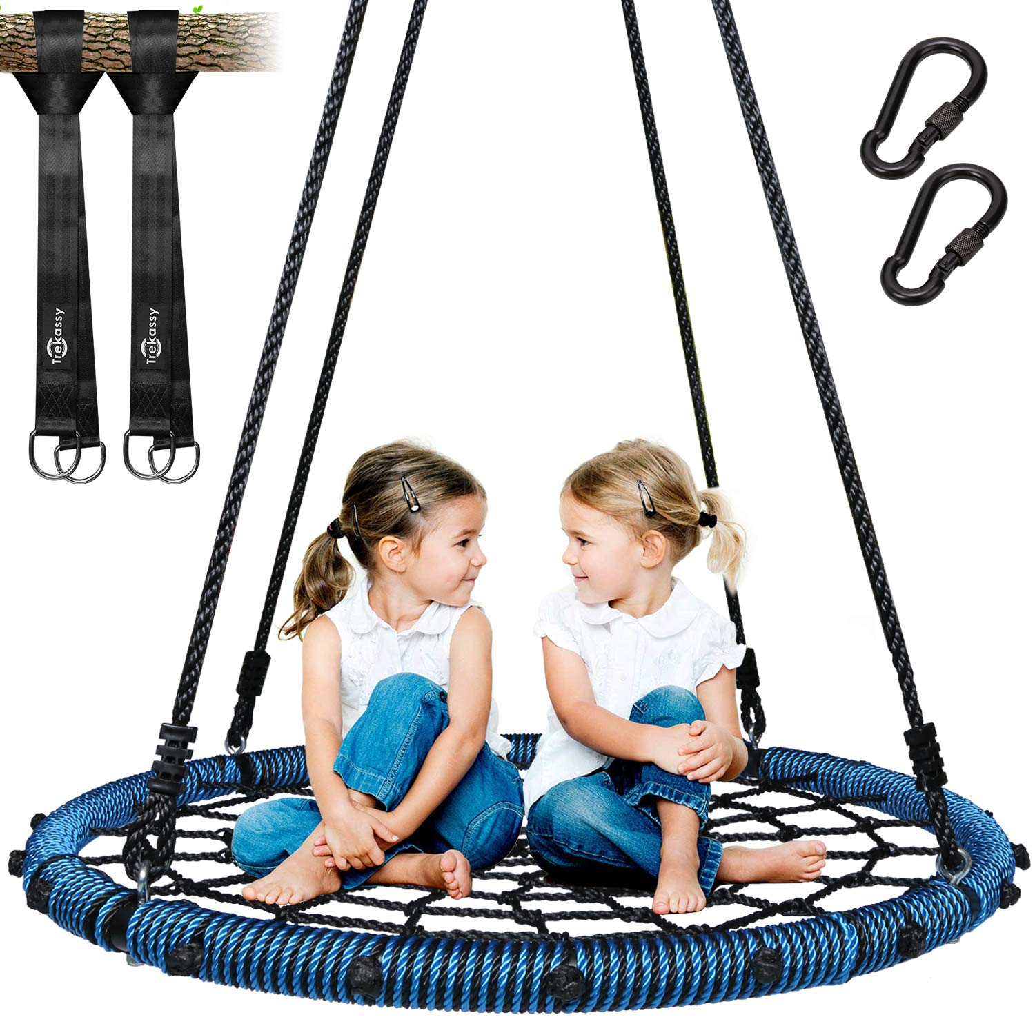 Trekassy 660 lb Spider Web Swing 40 inch for Tree Kids with Steel Frame and 2 Hanging Straps by Trekassy
