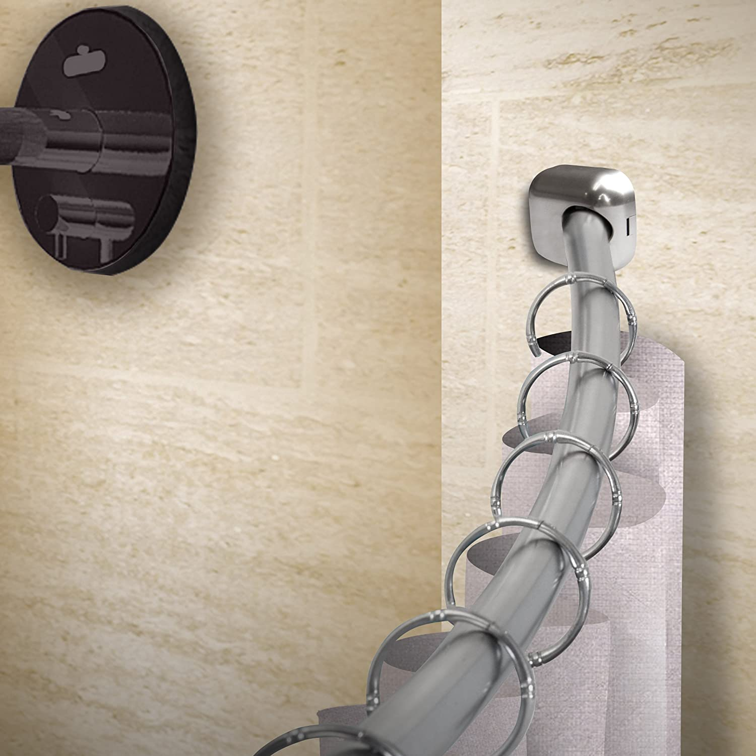 "Rod Desyne 1 inch Curved Shower 41""-72""-Satin Nickel Single Curtain Rod Set"