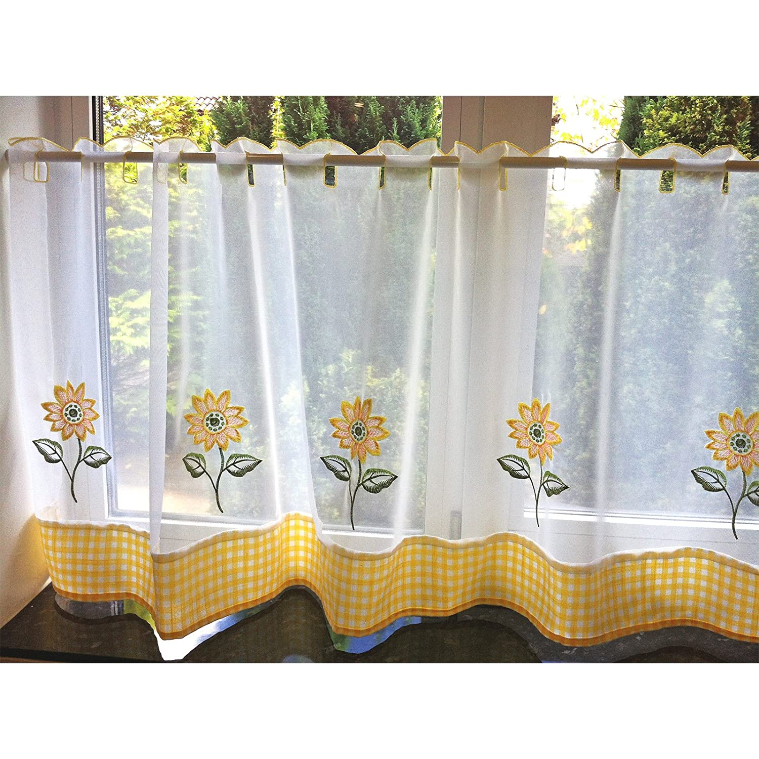 Sunflower Curtains For Kitchen Just Contempo Sunflower Flower Cafe Net Voile Panel 60 X 18