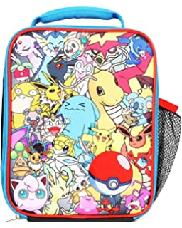 4091e9e76987 Pokemon All Over Print Multi Characters Insulated Lunch Bag for Kids with  Mesh Pocket